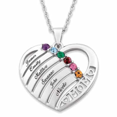 Mom Heart Necklace with Names and Birthstones - Silver or Gold