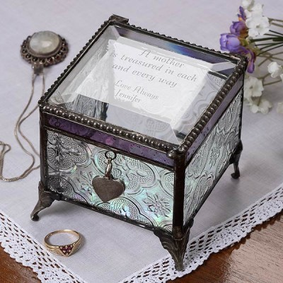 Personalized Jewelry Box - Grandma will love storing her treasures in this striking vintage-style jewelry box that's personalized with a loving message just for her.