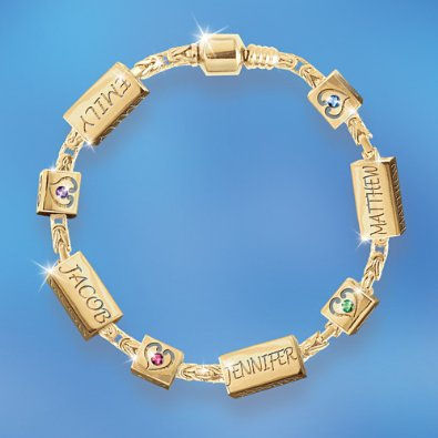 Family Birthstone Charm Bracelet Personalized With Child Names: Treasures Of The Heart