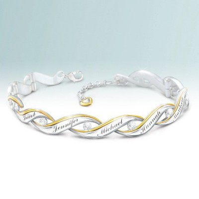 Mother's Day Jewelry Gift for Wife - celebrate your family's love with a stunning diamond bracelet that features all the family member's names.