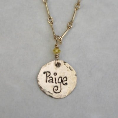 14k Gold Name Charm Necklace with Birthstones - Hand-stamped necklace is the perfect Mother's Day gift!