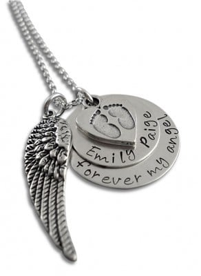 Personalized Angel Wing Necklace with Baby Footprints