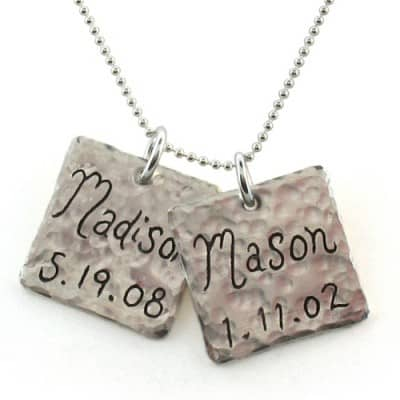 Hand-Engraved Square Name Charm Necklace with Birth Date