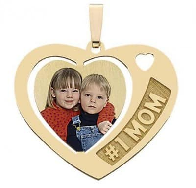 Heart Shaped #1 Mom with Engraved Photo Necklace