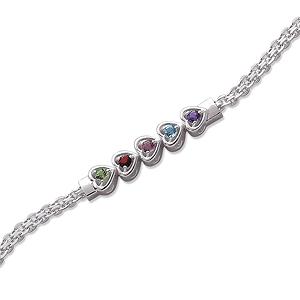 Sterling Silver Hearts Birthstone Bracelet