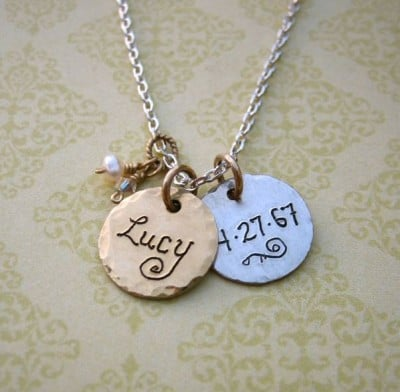 Gold and Silver New Mom necklace: Vintage-style personalized necklace features gold on one side; siilver on the other.  Hand-engraved with baby's name on one side and birthdate on the other.