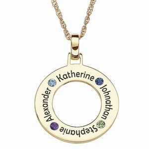 Circle Necklace with Names and Birthstones