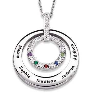 Sterling Silver Birthstone Necklace with Names and Diamonds
