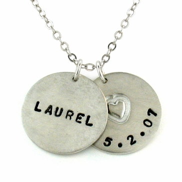 Sterling Silver Name and Birthdate Heart Necklace