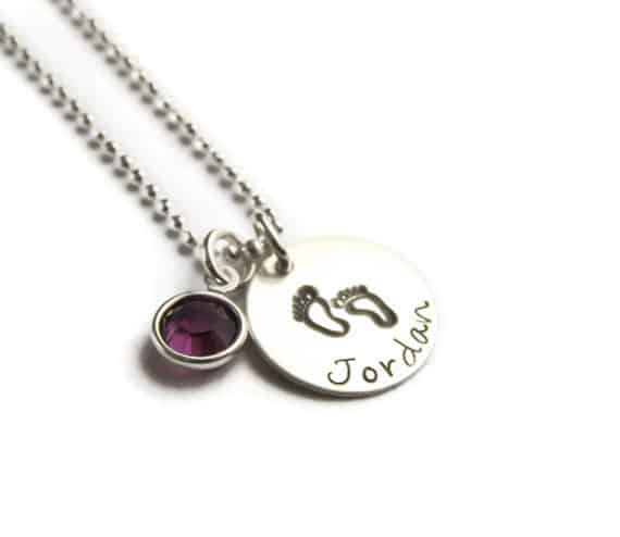 Baby Footprint Name and Birthstone Necklace