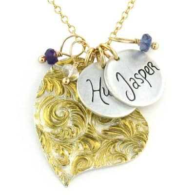 Gold Feather Heart Name Charm Necklace with Personalized Message