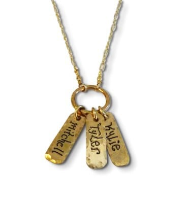 Gold Name Tag Necklace for New Moms