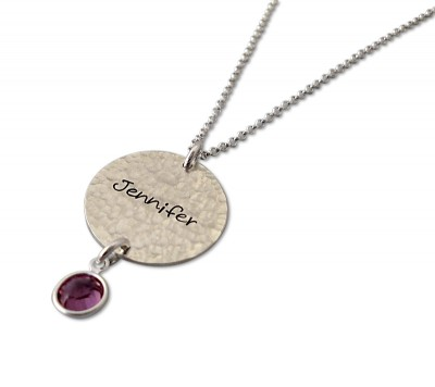 Sterling Silver New Mother BIrthstone Name Charm Necklace