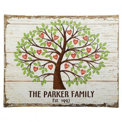 Thrill Grandmother this Mother's Day with a beautifully personalized family tree canvas.  Up to 24 names are inscribed on heart shaped apples - perfect for the grandma with a large family!