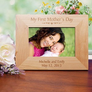 Personalized My First Mothers Day Wood Picture Frame