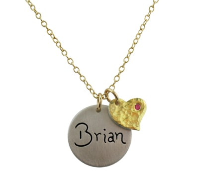 Gold Heart Birthstone Necklace with Name and Birth Date