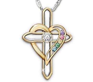 Diamond & Birthstone Cross Necklace