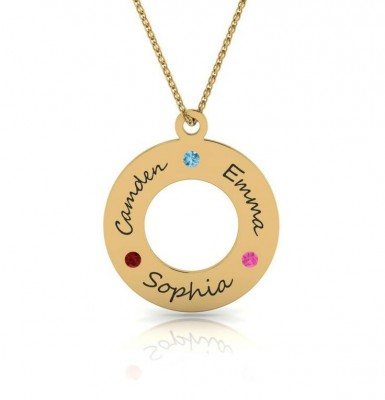 Square Necklace with Kids Names and Birthstones – Silver or Gold