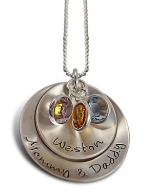 Family Name and Birthstone Necklace