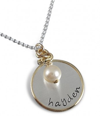 New Mom Necklace with Customized Baby Footprints