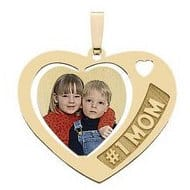 #1 Mom Necklace with Engraved Photo