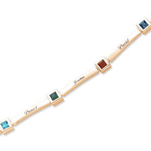 Mom Bracelet with Childrens Names and Square Birthstones