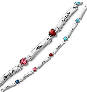 Mother's Bracelet with Children's Names and Heart Shaped Birthstones