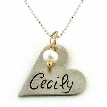 Personalized Heart Shaped New Mom Necklace features the baby's name on the front; birthdate on the back.  Birthstone accent adds the perfect touch of sparkle