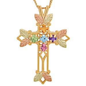 Black Hills Gold Grandma Birthstone Cross Necklace