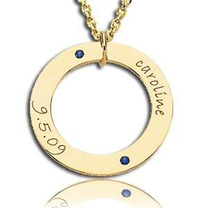 Posh Mommy Circle Necklace with Name, Birth Date and Birthstone