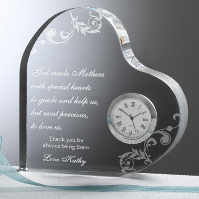 Heart Shaped Clock with Personalized Message