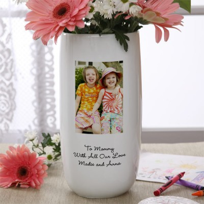 Photo Mother's Day Gifts for Grandma - She'll love displaying her Mother's Day flowers in this gorgeous vase that's decorated with a photo of the grandkids.  A Mother's Day gift that she can use all year round!