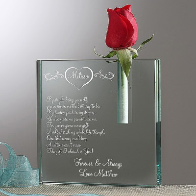 Mother's Day Flower Vase for Wife - engrave a loving message that your wife will always treasure!