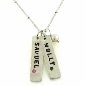 Tall Name Tag New Mom Necklace with Birthstone
