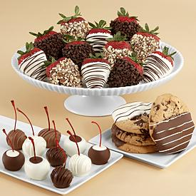 Chocolate Covered Cookies Strawberries and Cherries