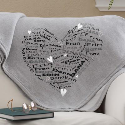 Heart of Love Personalized Sweatshirt Blanket