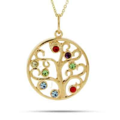 10k White Or Yellow Gold Family Tree Necklace With Up To 8