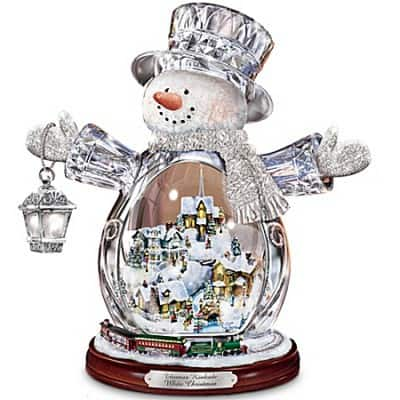 Thomas Kinkade Glass Pumpkin Light Up Centerpiece With