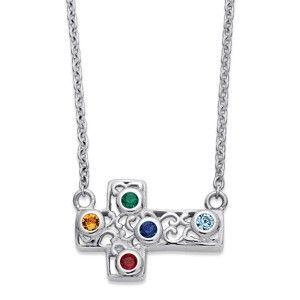Inexpensive Silver Grandma Cross Necklace with Grandkids Birthstones