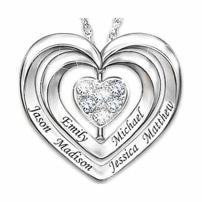 "Mother's Day Gifts for Wife - Your wife will cry tears of joy this Mother's Day when you give her this sparkling diamond necklace that is inscribed, ""Love Keeps our Family Together"" on the back. The front is personalized with her family member's names."