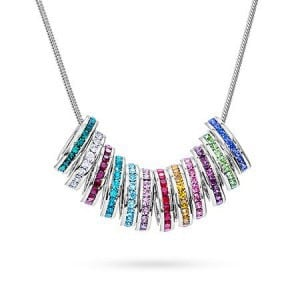 Birthstone Circle Stackable Charm Necklace