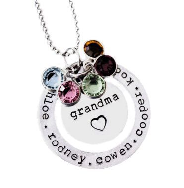 Trendy Grandma necklace - Stylish necklace features any name in the middle (Grandma, Nana,etc) and her grandkids' names engraved around the outer disc.  Brilliant birthstones add just the right amount of sparkle.