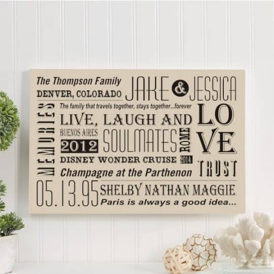 Our Family Life Personalized Canvas