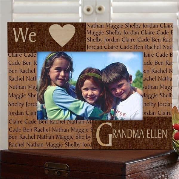 Personalized Mother's Day Gifts for Grandma - Striking We Heart Grandma personalized frame is sure to thrill your Grandmother.  Add a favorite photo to create a gift she'll be proud to display!