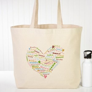 Her Heart of Love Personalized Canvas Tote