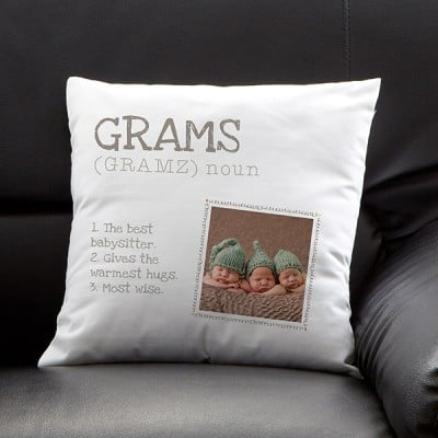 "Mothers Day Grandma Gifts - How sweet is this ""Definition of Grandma"" personalized pillow that features a photo of her adorable grandkids?"