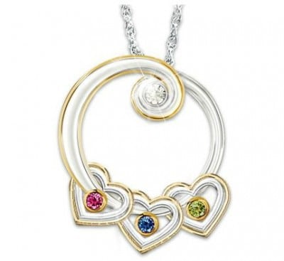 Circle of Love Diamond and Birthstone Necklace
