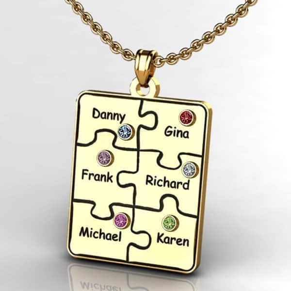 Jigsaw Puzzle Birthstone and Name Necklaces