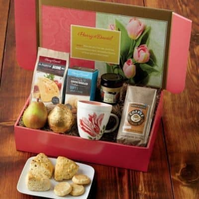 Mother's Day Brunch Gift Baskets - Treat Mom to an elegant brunch this year, even if you can't take her out.  Delightful brunch gift basket features everything she needs for a gourmet, at-home brunch!