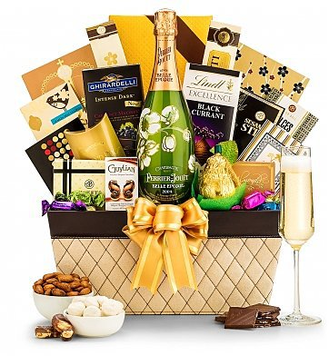 Mother's Day Champagne Gift Baskets - Surprise Mom or Grandma this year with an elegant champagne gift basket for Mother's Day!
